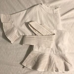 Dresses & Skirts - White linen tie mini dress with ruffles